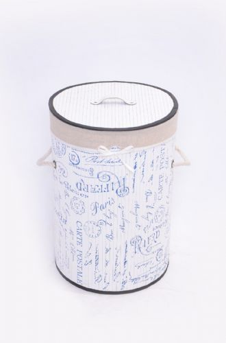 WHITE FLEUR DE PARIS BAMBOO LAUNDRY BASKET WASHING CLOTHES FOLDABLE STORAGE BIN - ROUND
